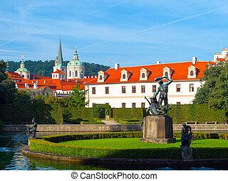 Park pond in Wallenstein Garden under Prague Castle, Czech Republic