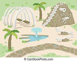 park, prehistorisch, fossielen