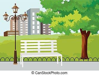 park, publiczność, wektor, miasto