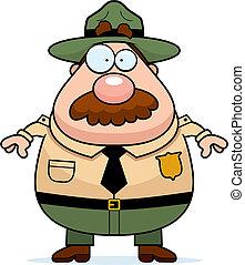 Park Ranger - A cartoon park ranger with a mustache.