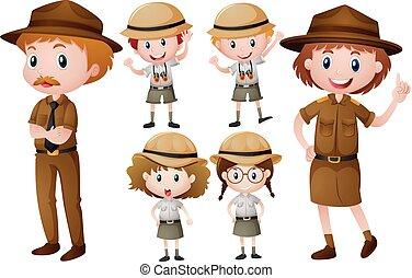 Park rangers in uniform