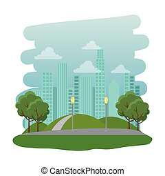 park, recreatief, natuurlijke , scène, straat
