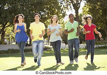 park, rennender , gruppe, teenager, durch