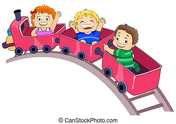 Park Ride - Illustration Featuring Kids Enjoying a Park Ride