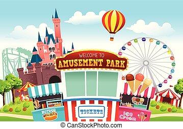 park, rozrywka, ilustracja