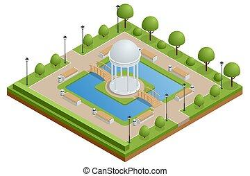 park, rusten, stad, stedelijke , isometric, tuin, groene, gazebo, relax., meer, center., wandelingen