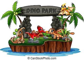 park, rysunek, dinozaury, dino, wyspa