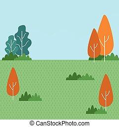 park, rysunek, krajobraz, natura