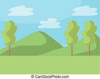 park, rysunek, natura