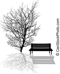 Park scene illustration with tree and park bench silhouettes
