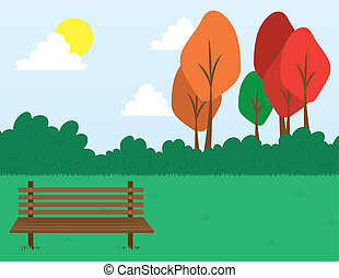 Park scene with bench in the grass