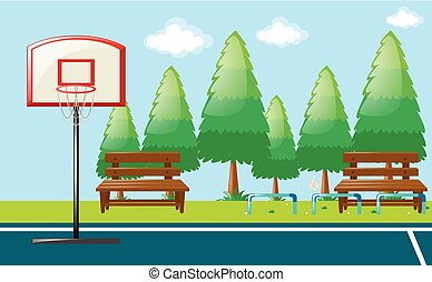 Park scene with basketball court