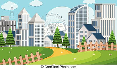 Park scene with buildings illustration