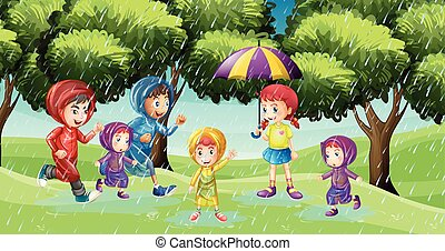 Park scene with children running in the rain