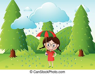 Park scene with girl in the rain