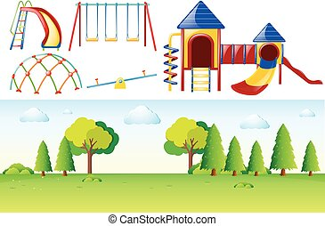 Park scene with many play stations illustration