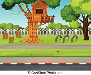 Park scene with treehouse along the road