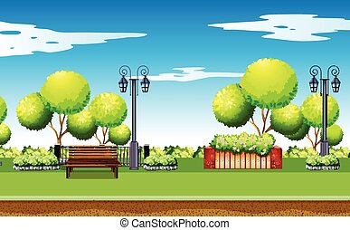 Park scene with trees and benches illustration