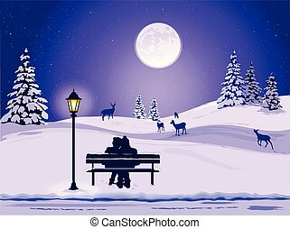 park, silhouetten, landschaftsbild, paar, winter, bank