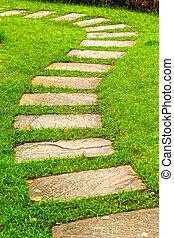 park, soczysty, ścieżka, zielony