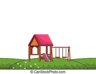 park, speelplaats, spotprent