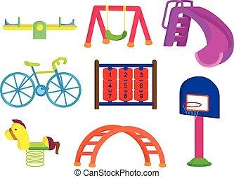 park, speelplaats, verzameling, kinderen