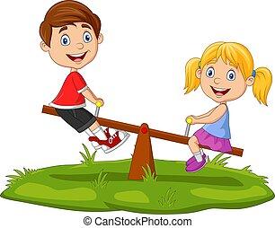 park, spielende , karikatur, kinder, wippe