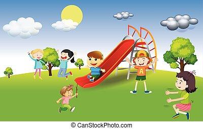 park, spielende , kinder