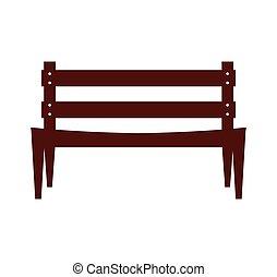 park, stoel, vrijstaand, pictogram