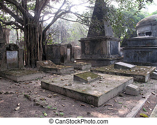 Park Street Cemetary in the city of Kolkata, India