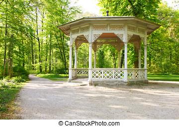 Park - sunrise in a city park with the pavillion