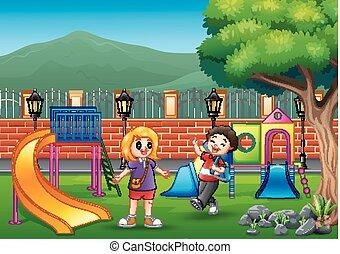 park, szczęśliwy, interpretacja, publiczność, dzieci
