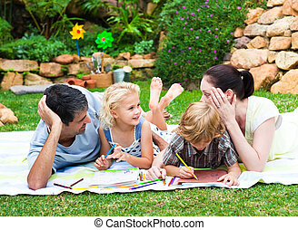 park, tekening, gezin, vrolijke