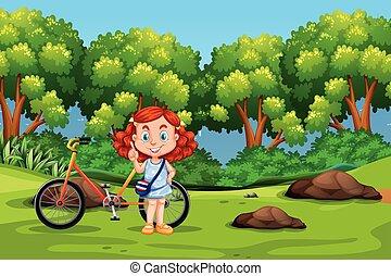 park, thai, fiets, meisje, paardrijden