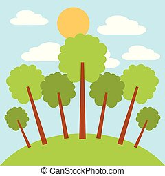 park trees sun and cloud sky day landscape