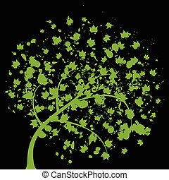 Park trees8 - Green tree on a black background. A vector...