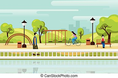 Park vector background. City park landscape illustration in flat style.