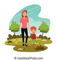 park, vrolijke , haar, zoon, moeder