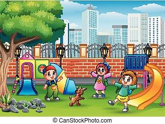 park, vrolijke , spelend, publiek, kinderen