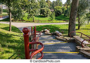 park., vue, balustrade, escalier