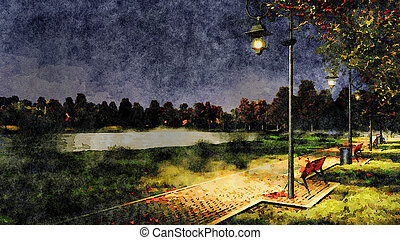 Park walkway at autumn night watercolor landscape