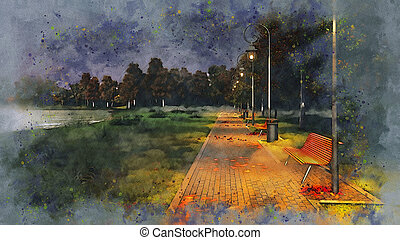 Park walkway at autumn night watercolor sketch