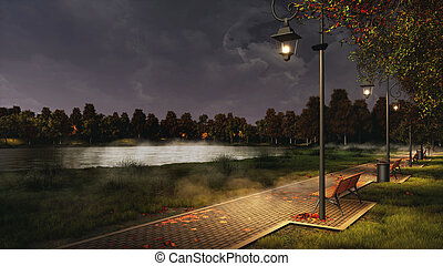 Park walkway lit by street lamps at autumn night