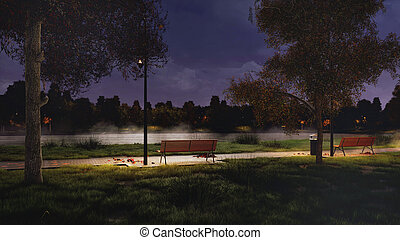 Park walkway on the lakeshore at dark autumn night