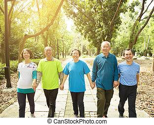 park, wandelende, groep, senior, vrolijke