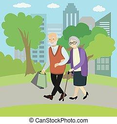 park, wandelende, oud, paar, vrolijke