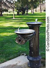 Park water fountain narrow focus - Very narrow focus on a ...