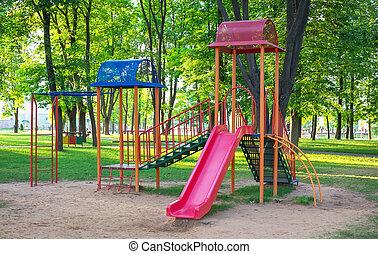 park., werf, speelplaats, kleurrijke