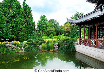 park with a lake and pagoda