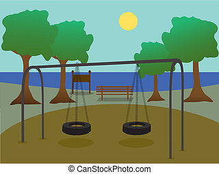 Park with playground - Scenic silhouette park playground ...